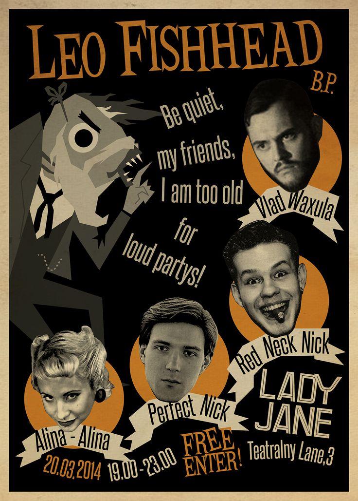Leo Fishhead Оne Man Band  Birthday Party Gig Poster  Blues Trash Garage Psychobilly
