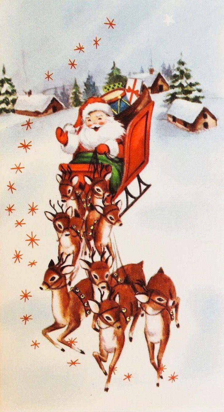 #retrochristmas, #santa, Vintage Christmas Card, Santa & Reindeer