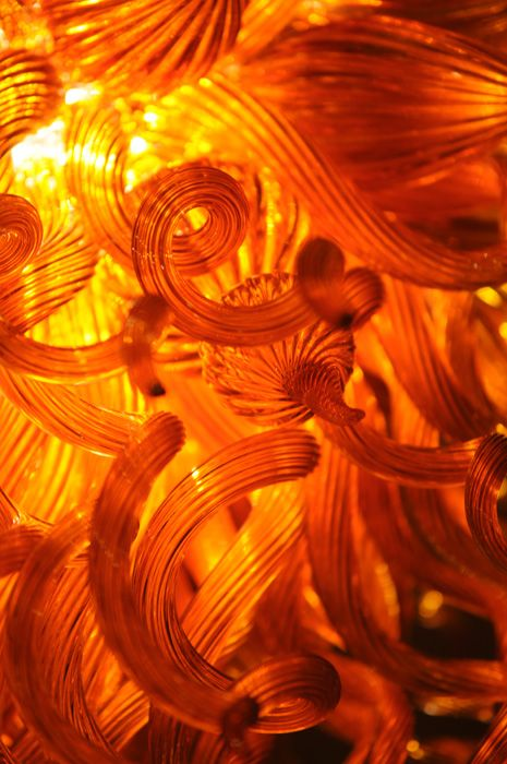Orange Chandelier. Kaindl Glass Art Premium Custom Blown Art Glass