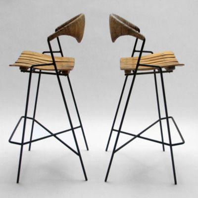 Bar Stool designed by Arthur Umanoff made in USA Wrought iron frames wood