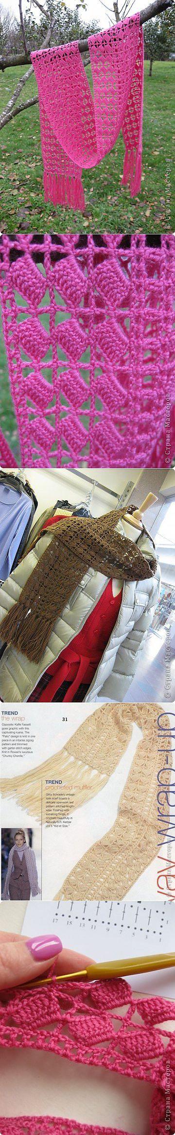 Шарф женский крючком, вязаные шарфы крючком схемы | Лаборатория домашнего хозяйства