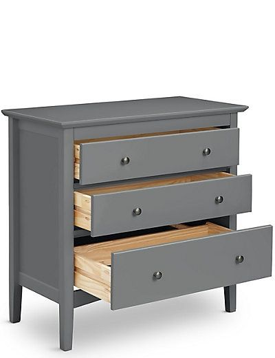 Hastings 3 Drawer Chest Dark Grey | M&S