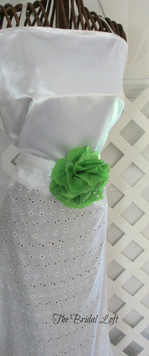 Lime Green Dress Sash, Apple Green Dress Sash, Green Polka Dot Sash, White and Green Weddings, 2 Sizes available for Flower Girls and Bridesmaids, Matching items available! Handmade by Bridal Loft on Etsy