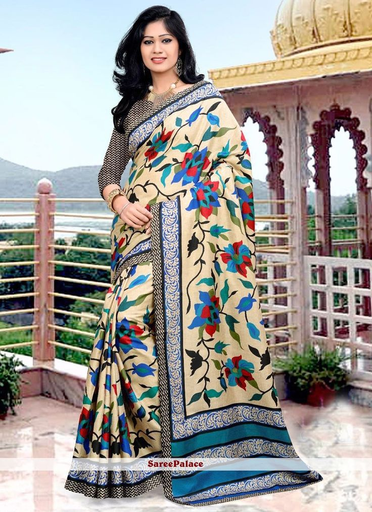 Magnificent Art Silk Multi Colour Printed Saree