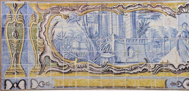 Lição de música no salão aberto ao terraço. Estilo     D. José (1750-1777). Paiinel de 210 azulejos, decoração a azul, cartela rococó a amarelo, verde e vinoso. Português