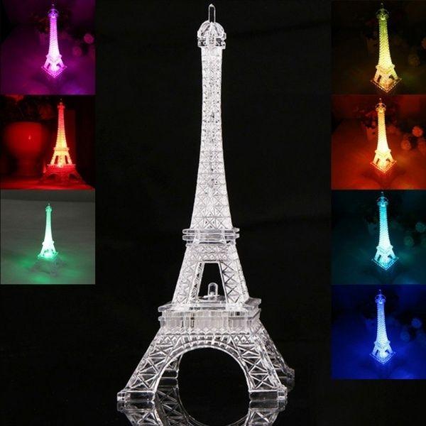 Valentine S Day Romantic Glow Eiffel Tower Color Night Light Paris Tower Light Creative Gift Wish In 2020 Tower Light Led Night Light 3d Led Night Light