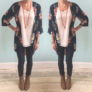 make use of your summer kimonos by wearing them with ankle boots and leggings or skinny jeans.... Love this whole outfit