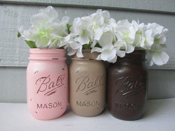 Lackierte und notleidenden Ball Mason Gläser-Licht/Pale/Pastel Rosa, Beige und dunkel braun-Set 3-Blumenvasen, rustikale Hochzeit, Mittelstücke