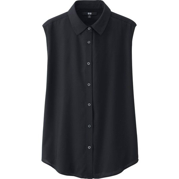 UNIQLO Women Rayon Volume Sleeveless Blouse (165 MXN) ❤ liked on Polyvore featuring tops, blouses, shirts, tank tops, black, black shirt, sleeve less shirts, black sleeveless blouse, sleeveless tops and shirts & tops