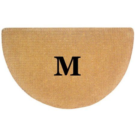 Inspired Accents Heavy Duty Coco Mat, No Border Monogrammed Half Round, Multicolor
