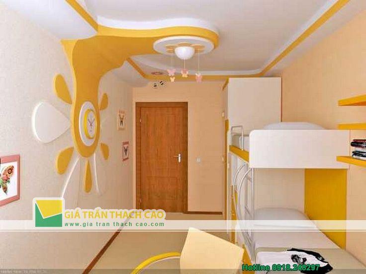 Thiết kế trần thạch cao cho phòng ngủ trẻ em 02