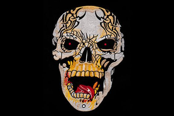 Big Skull embroidery. This design was produced using Tajima embroidery machine, Madeira embroidery threads and Wilcom digitizing software. #digitized #skull #halloween #spooky