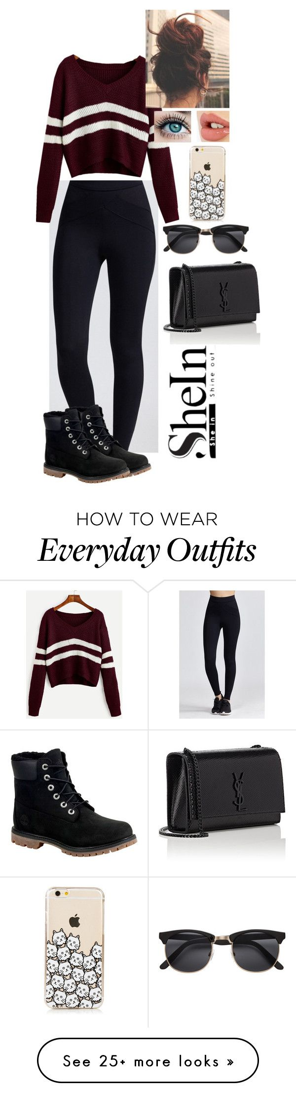 """""""School Outfit"""" by crashwegener on Polyvore featuring Timberland, Charlotte Tilbury, H&M and Yves Saint Laurent"""