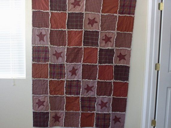 Primitive Rag Quilt   Items Similar To Primitive Country Americana Rag  Quilt Throw On Etsy