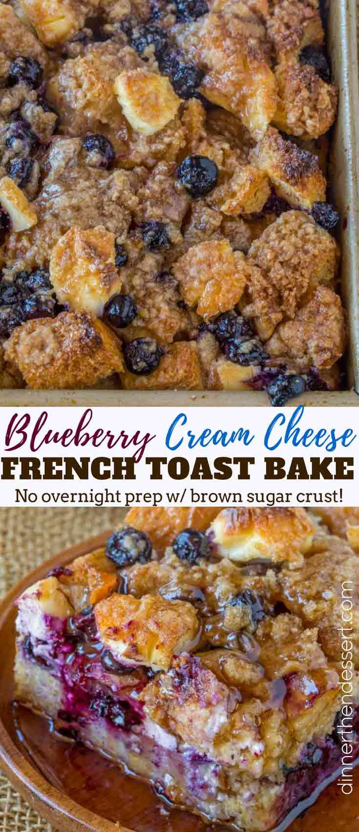 Blueberry Cream Cheese French Toast Bake without any overnight chilling is the perfect cross between a french toast bake and blueberry cream cheese danish.