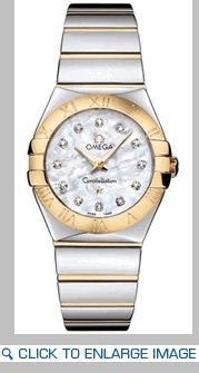 123.20.27.60.55.004 Omega Constellation Ladies White Mother of Pearl Diamond Watch