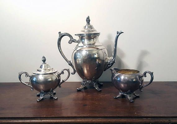 Antique Farmhouse Tea Set - Teapot, Sugar, and Creamer by W M Rogers - Silver Plate Vintage Tea Service for Shabby Chic Decor