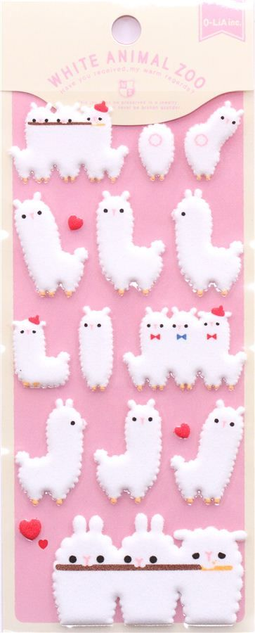 white alpaca felt sponge stickers by Q-Lia from Japan