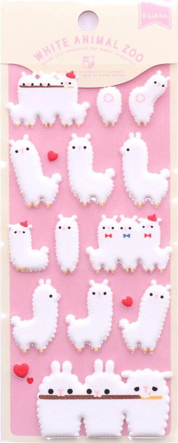 white alpaca felt sponge stickers by Q-Lia from Japan