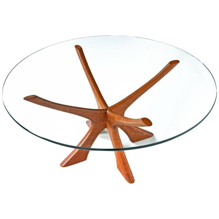 "Danish Teak ""JAX"" Base Glass Top Coffee Table by Illum Wikkelsø, 1950s 
