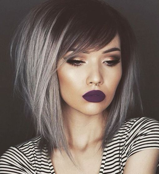 Medium Black Hair With Gray Balayage                              …
