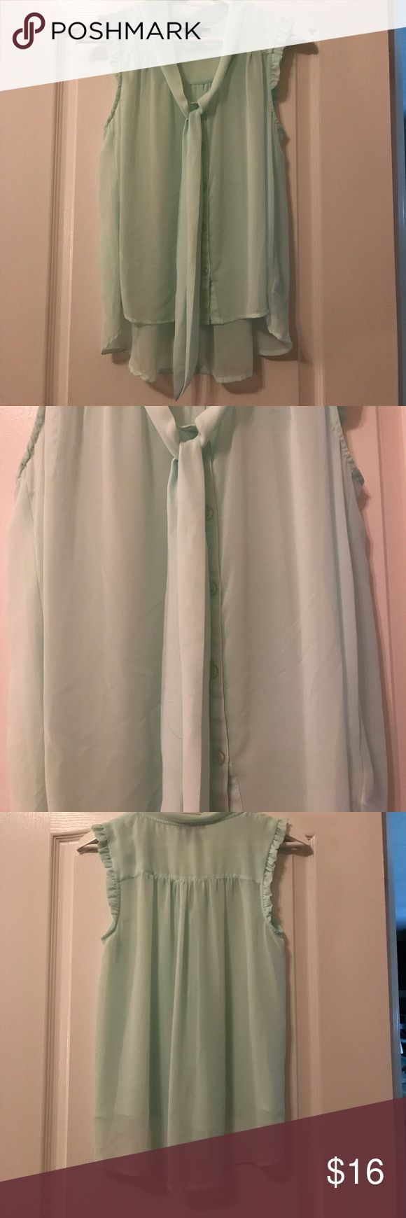 💎just In Forever 21 sheer mint blouse Stunning a line sheer blouse by Forever 21 in May not with front tie collar sleeveless EUC not a mark on it Forever 21 Tops Blouses