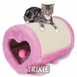 Stabile Kratzrolle für Katzen. Mit Sisalmatte zur Krallenpflege und kuschelweicher, mit Plüsch überzogener, Höhle als Schlafplatz.