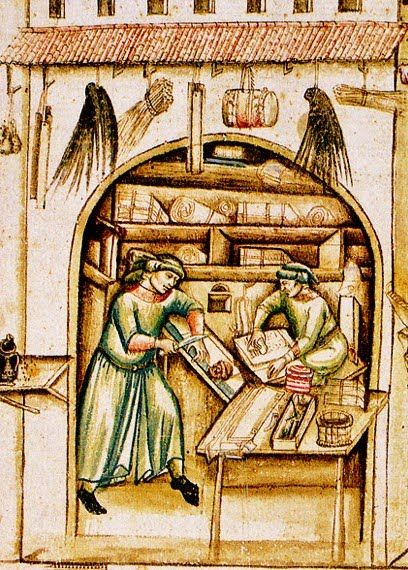 Parchment Sellers scrubbing and stretching the parcment 15th century Bologna, University Library. Cod. Bonon. 963, f. 4