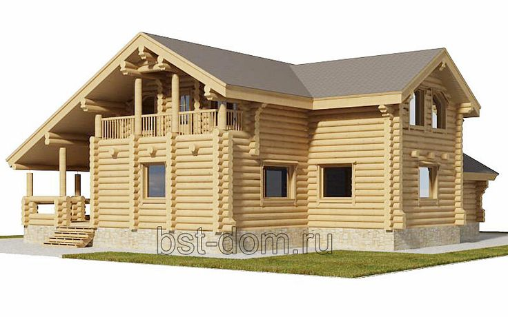 Проект дома №4 из оцилиндрованного бревна - Строительство деревянных и каменных домов 8-9852240745.