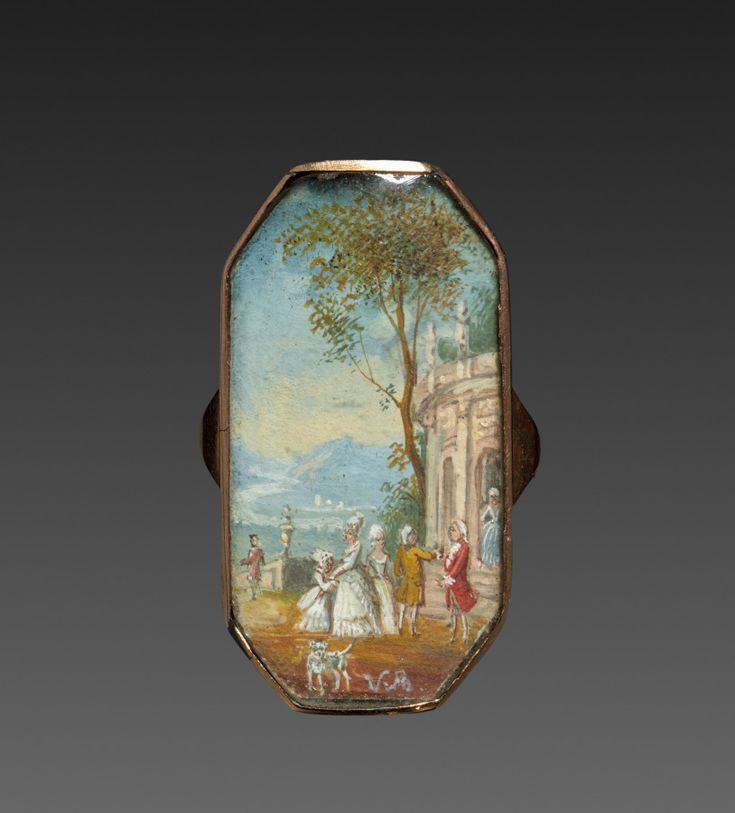 France, 19th century, miniature mounted in gold.