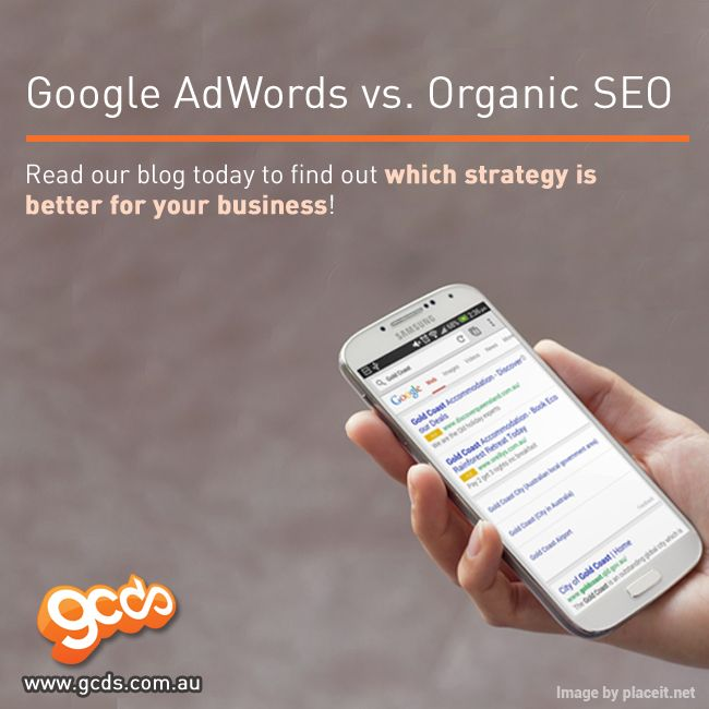 Read our blog to find out which strategy is better for your #business!   --> http://www.gcds.com.au/blog/google-adwords-vs-organic-seo  #SEO #GoogleAdWords #Marketing