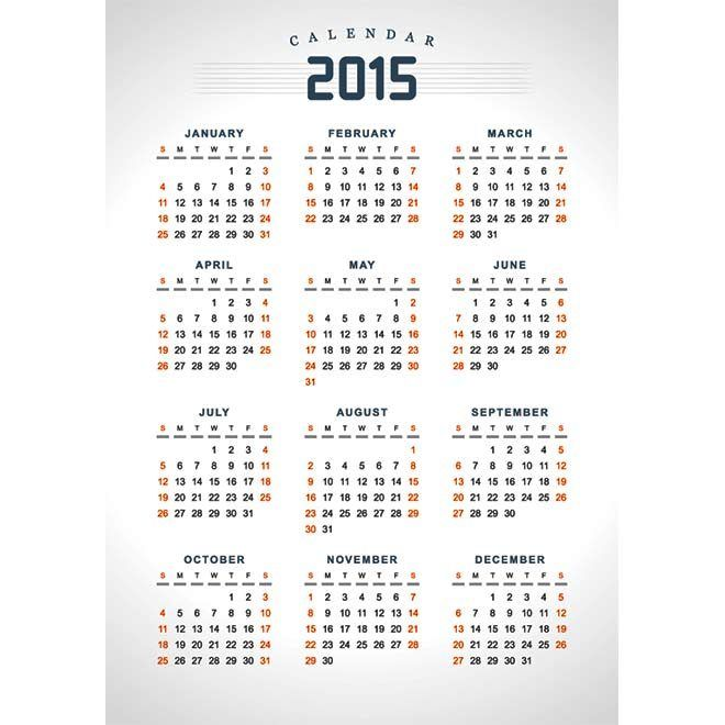 Holiday Text Highlighted Orange Calendar 2015 Vector Template