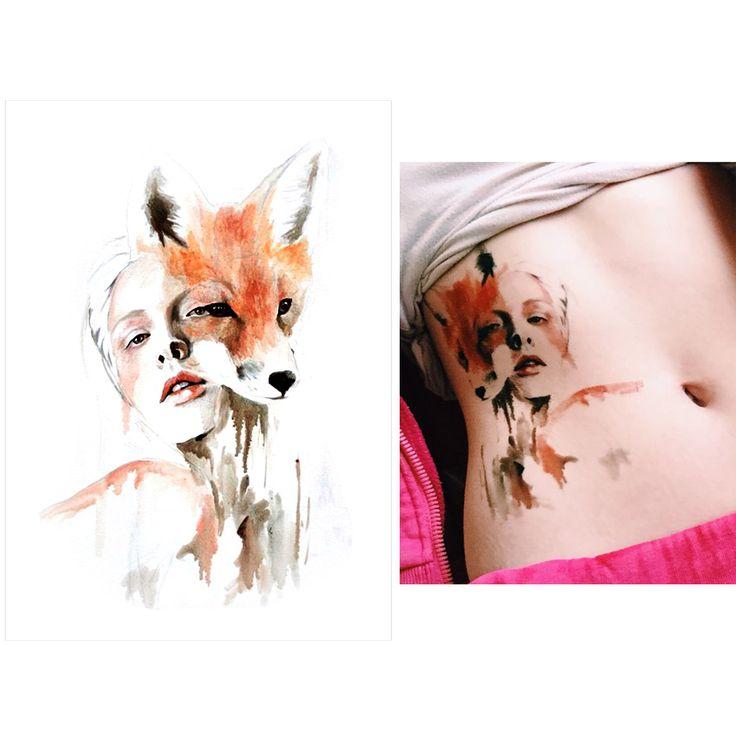 새로운 도착 1 시트 임시 문신 스티커 KM-056 꽃 팔 바디 아트 방수 문신 아름다움 여우 여성 요염한 데칼 디자인