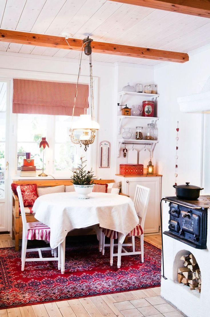 Köket har ritats om och är helt nytt men i äldre stil. Bland annat bestämde sig Eva och Åke för att ta upp ett fönster ut mot vardagsrummet, så att man kan se ut över sjön Siljan även från köket. Den fina vedspisen ger atmosfär i köket. Fotogenlampan och kökssoffan är ärvda. Kuddarna och hissgardinen är hemsydda. Skåpet i hörnan är en rest från den gamla köksinredningen. Gjutjärnsgrytan var en flytta hemifrån-present från Evas mormor och morfar.