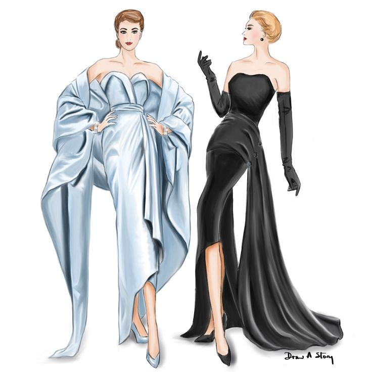Christian Dior in the 1950s; a fashion illustration by Draw A Story