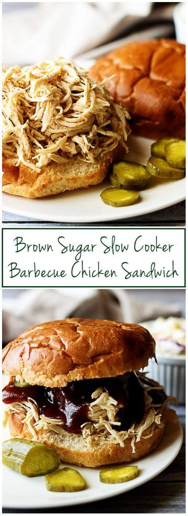 Summer is the perfect time for a brown sugar slow cooker barbecue chicken sandwich loaded with tender chicken and sweet barbecue sauce. via @berlyskitchen