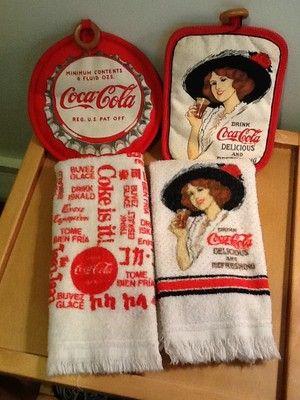Coca Cola dish towels and vintage pot holder