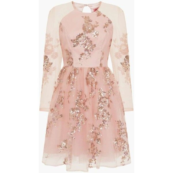 *Chi Chi London Rose Gold Sequined Midi Dress ($89) ❤ liked on Polyvore featuring dresses, vestidos, rose gold, rose gold sequin dress, sequin embellished dress, pink dress, pink cocktail dress and calf length dresses