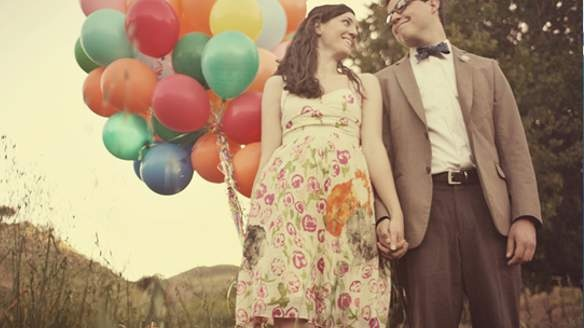 engagement photos as Carl and Ellie from Disney's UP... i love this