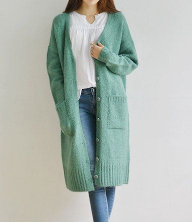 Cardigan lungo di menta cardigan lungo oversize maglia di hjyggj
