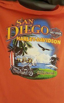 Harley Davidson San Diego California Sleeveless Orange T-Shirt-Size XL