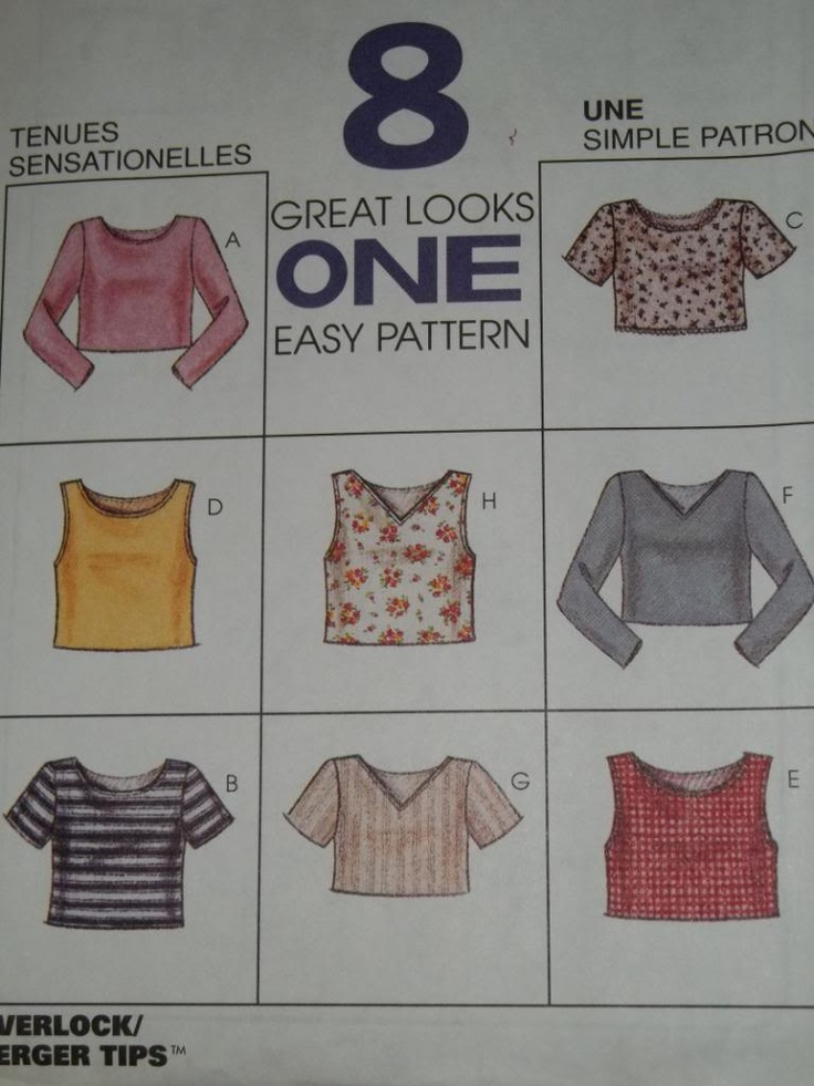 McCALL'S # 7715 - LADIES VERY CUTE 8 STYLE PULLOVER CROP TOP PATTERN