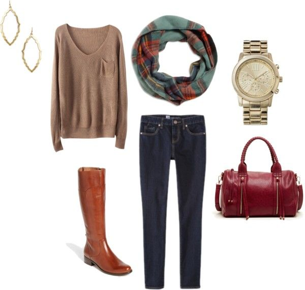 Fall Outfit Idea #6 Neutral Sweater + Dark Wash Jeans + Plaid Scarf + Riding Boots