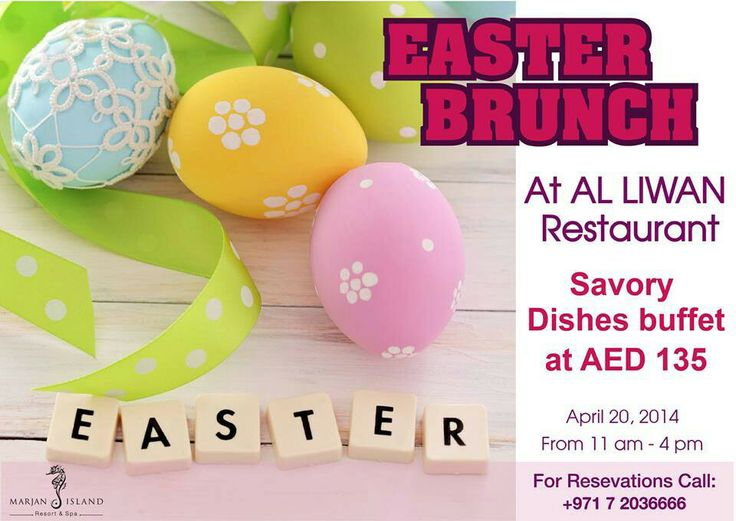 Easter Brunch at Al Liwan Restaurant. Sunday, April 20,2014 11am-4pm. For reservations please contact 72036666 / reservations marjanislandresort com