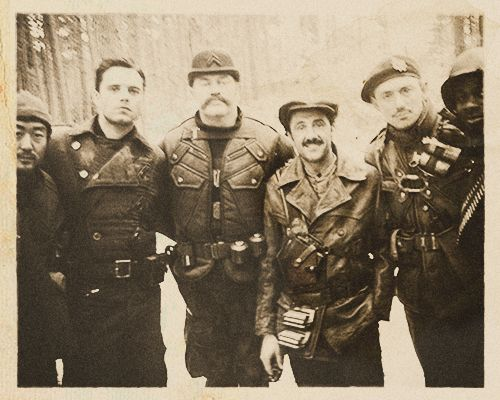 "The Howling Commandos. From left to right: Pvt. James Morita, Sgt. James Buchanan ""Bucky"" Barnes, Cpl. Timothy Alyosius ""Dum Dum"" Dugan, Cpl. Jacques ""Frenchie"" Dernier, Lt. James Montgomery Falsworth, Pvt. Gabriel ""Gabe"" Jones (Italy, November 1943)."