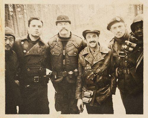 "The Howling Commandos. From left to right: Pvt. James Morita, Sgt. James Buchanan ""Bucky"" Barnes, Cpl. Timothy Alyosius ""Dum Dum"" Dugan, Cpl. Jacques ""Frenchie"" Dernier, Lt. James Montgomery Falsworth, Pvt. Gabriel ""Gabe"" Jones (Italy, November 1943)."