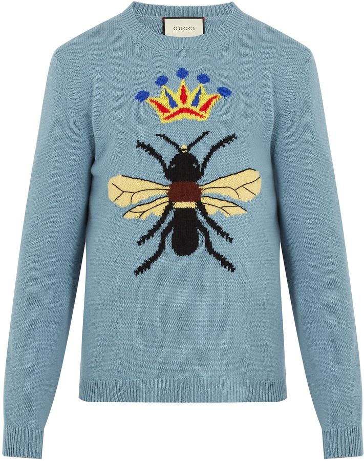 GUCCI Bee and crown-intarsia wool sweater Klick to see the Price #men #fashion #male #style #menfashion #menwear #menstyle #clothes #boots #man #ad