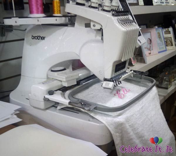 Our 6 Thread Embroidery Machine in action You will love our range of embroidered Towels, Dressing Gowns, Baby Items and of course Embroidered Caps You can personalise it any way you like...