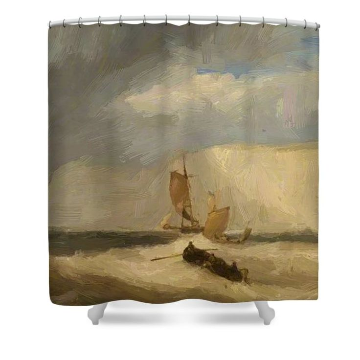 The Shower Curtain featuring the painting The White Cliffs Of Dover 1859 by Webb James