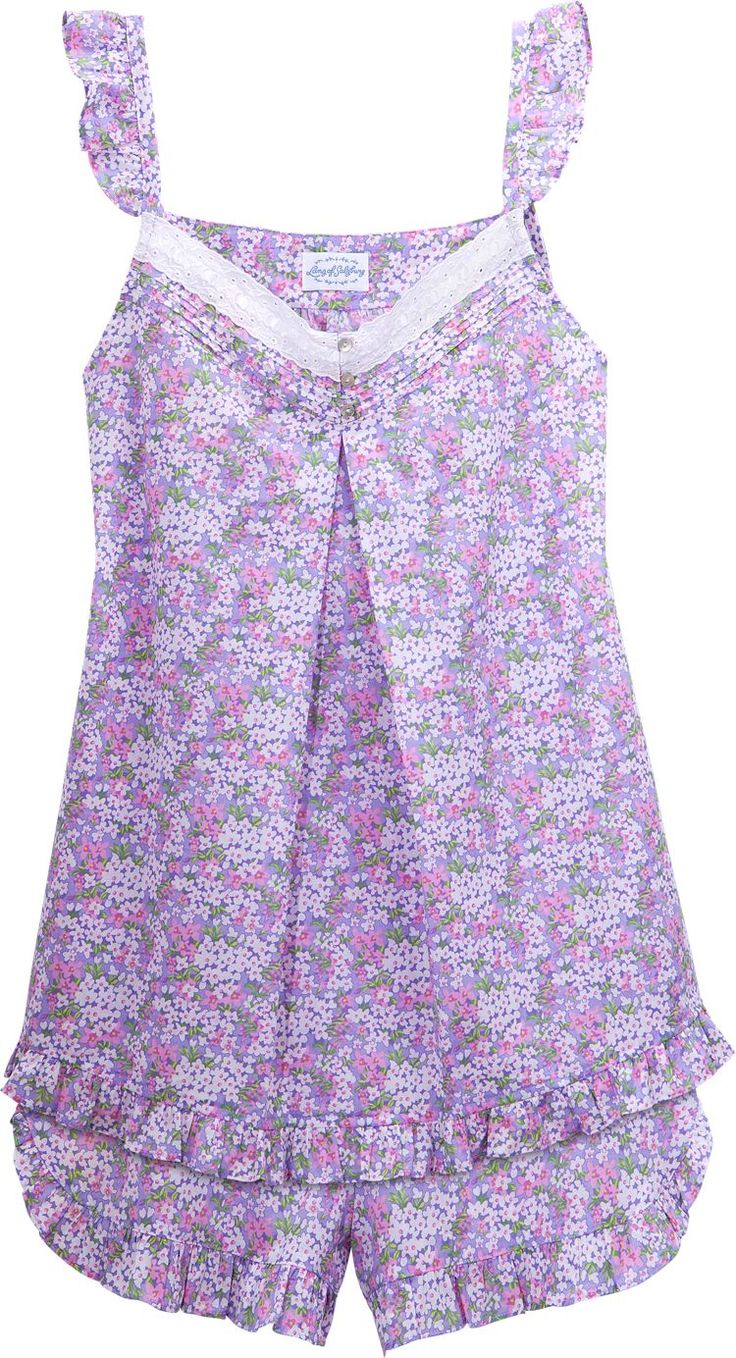 Lanz of Salzburg Baby Doll Pajamas: Cut to fit and flatter a women's body, these flirtatious PJs feature a sleeveless top with self-ruffle trim straps, ribbon woven through eyelet at the yoke, pintuck detailing, faux shell buttons, and ruffled short hem. Bloomer-style bottoms pull-on easily and have a non-binding elastic waist.